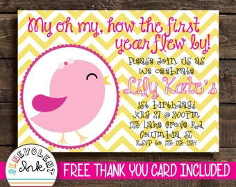 Bird 1st Birthday Invitation - First Birthday Party Invite - Printable Chevron Birthday Invitation