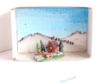 Miniature log cabin matchbox polymer clay artwork watercolor decoration