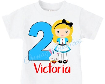 Alice in Wonderland Custom T-Shirt, PERSONALIZE with Name/Age, Perfect Birthday Gift!