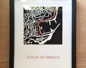 Formula 1 Track Map cut out - Circuit de Monaco Grand Prix