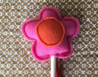 Children's Felt Wand, Pink Flower with Orange Center and tri-color ribbons