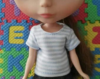 Blythe Doll Outfit Clothing Light Blue and white strip Tee