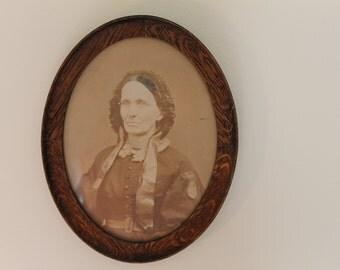 Civil War Era Antebellum Victorian Photograph in an Oak Wood Frame
