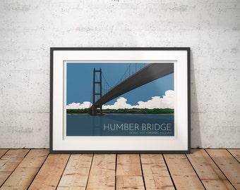 Humber Bridge - Hessle - East Yorkshire - UK - A3 or A4 signed print UNFRAMED