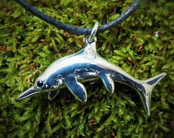 Ichthyosaur necklace , silver and sapphire Ichthyosaurus pendant.