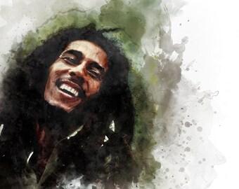 Bob Marley Portrait - Watercolour illustration - Digital Art - Fine art Print / poster