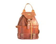 70s Vintage Backpack / brown leather Backpack / boho