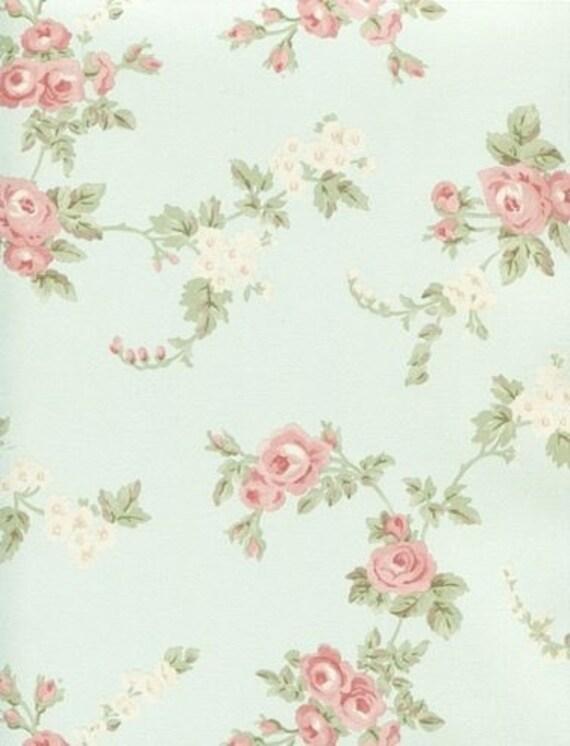 shabby cottage rose floral on soft pastel aqua wallpaper. Black Bedroom Furniture Sets. Home Design Ideas