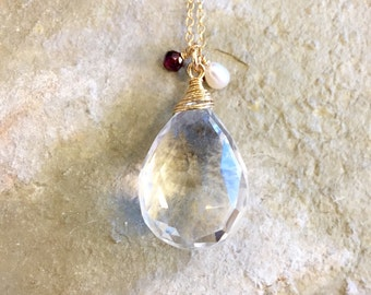 Clear Quartz Garnet and Freshwater Pearl 14k Gold Pendant Necklace