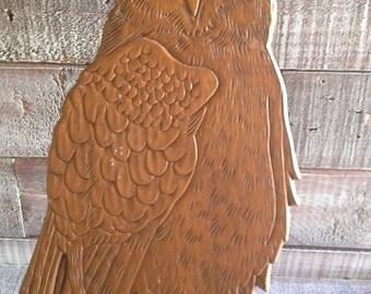 Vintage Hand Carved Wooden Owl