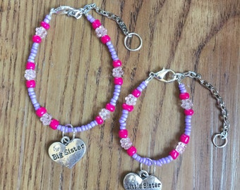 Big sister and little sister bracelet set with charms