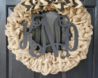Monogram Burlap Wreath, Burlap Wreath, Monogram Wreath