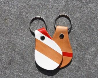 Stripes Tan Leather Fob Key Chain