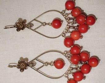 Vermeil,goldplate chandelier and Coral earrings