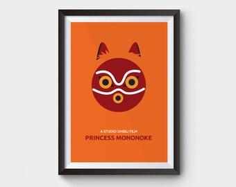 "Princess Mononoke - movie poster: 12x16"" (A3)  print, film, illustration, Kids art, ghibli, minimalist movie poster,  studio ghibli poster"