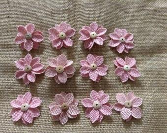Burlap Flower light pink Flowers- wooden button center- new set of 12
