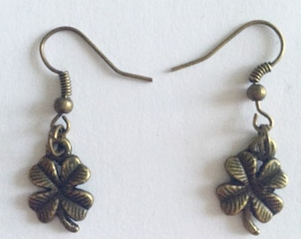 Luck of the Irish four-leafed clover bronze charm earrings