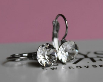 Clear Crystal Leverback Earrings made with Swarovski Crystal Elements