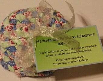 Braided Coasters, Blues & Greens
