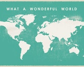 What a Wonderful World Map, Printable World Map, Big Size World map, 36 x 48 inch world map, mint world map