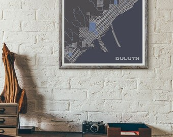 Winter edition - Duluth vintage map print