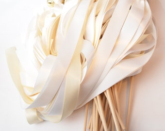 100  Triple Wide Ribbon Bell Wand ~ Large Bell ~ Send Off Bells ~ Wedding Favors