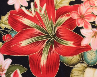 Winter Garden by Color Principle for Henry Glass TR33 Gorgeous large flower print, Sold by the Half Yard