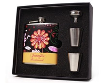 Bridesmaid Gift // Four Personalized Flask Gift Sets for your Bridesmaids