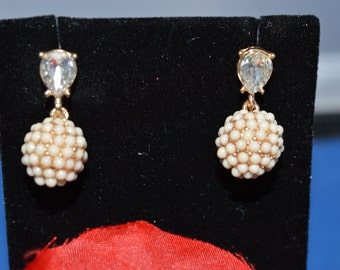 Joan Rivers Cluster Cluster Ball Pierced Earrings Gold Tone  ships in 24 Hrs