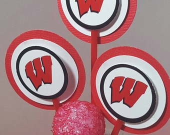 Wisconsin Badger Cupcake Toppers - set of 6
