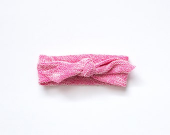 Pink textured knotted baby headband