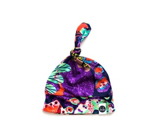 SALE - Bright floral top knot baby beanie