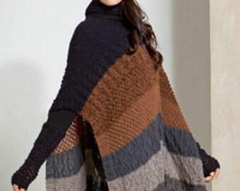 Poncho-tunica for women. Knitted poncho-tunica, alpaca, merino wool