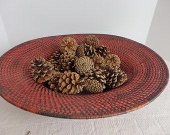 Wide Rimmed Red Woven Basket. Woven Art Basket