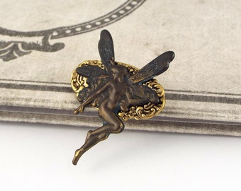 Victorian Fairy Brooch Pin - Brass, Fantasy Jewelry