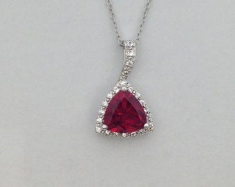Created Ruby with White Topaz Pendant 925 Sterling Silver