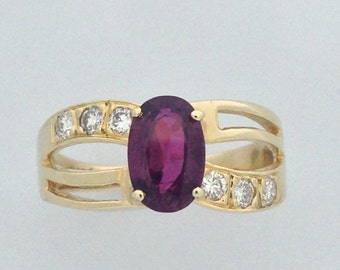Genuine Ruby Diamond Ring Solid 14kt Yellow Gold