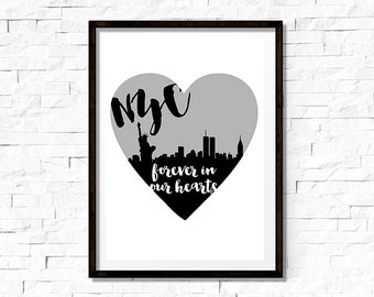 Printable Wall Art - New York City Skyline Silhouette, Twin Towers, 9/11 Memorial - Instant Download