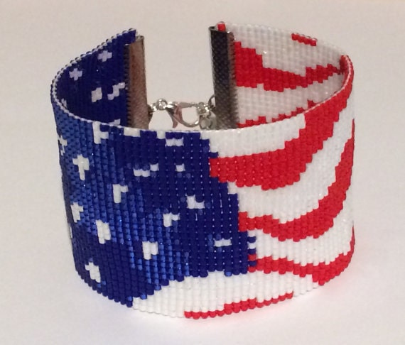 Instant download beading pattern peyote stitch bracelet for Patriotic beaded jewelry patterns