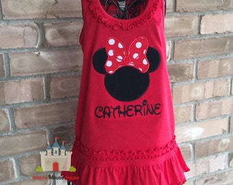 Minnie Mouse Silhouette with Red Dot Bow on a Red Dress.Inspired by Minnie Mouse and Disney.