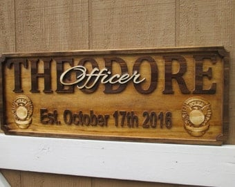 Police Officer Gift Personalized Family Name Signs Policeman Plaque Custom Name Sign Police Graduation Gift Last Name Establish Sign Wood