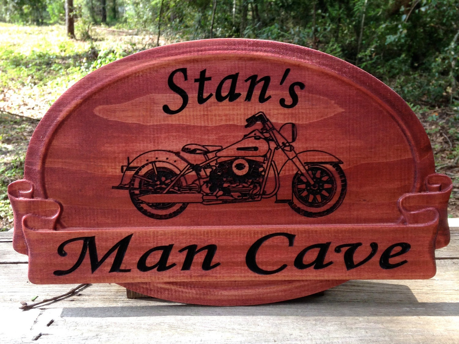 Harley Davidson Man Cave Signs : Man cave sign with harley davidson carved graphic gifts for