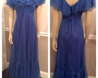 Vintage 70's Blue Prom dress / size 5
