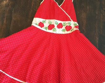 Adorable red polkadot halter with red roses girls size 4 kids .
