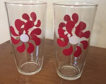 Vintage Hazel Atlas Tall Sour Cream Glasses Red Flower  Set of 2