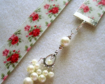 Rose Grosgrain Ribbon Bookmark w/Chandelier Charm