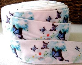 7/8'' -  22 mm Butterfly Grosgrain Ribbon