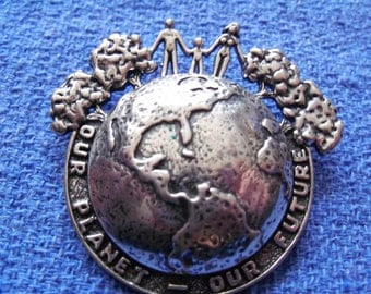Very Rare Vintage Silver Cloud Our Planet Our Future sterling brooch pendant