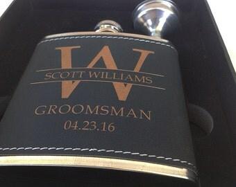 2 Groomsmen Leather Flask Set for Weddings, Best Man Flask-Groomsmen Flask- Bachelor Party Flask-Groomsman Flask-Personalized Wedding Flask