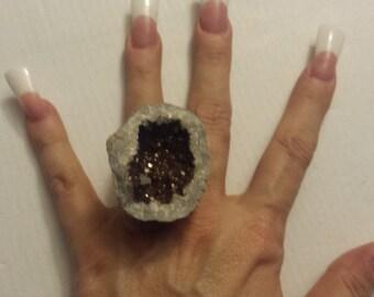 Earthy Geode Druzy Ring Bold Statement Ring Huge Raw Rock Jewelry Goddess Shaman Alchemy Sorcerer Sorceress Witch Voodoo Hoodoo MAGICK Gay